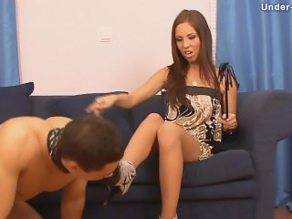 Russian goddess foot and shoes worship + slapping