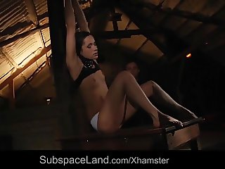 Rough nipple clamps punishment for bondage slave ass plugged