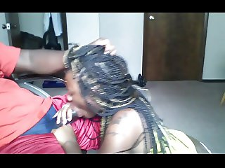 Ebony With Braids Give A BJ And Get A Facial