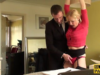 Mature uk sub gets cuffed and dominated over