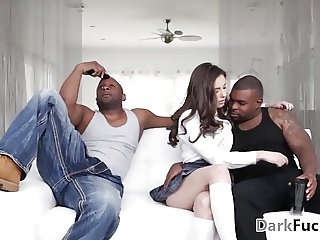Double penetrate pretty little Casey Calvert at Darkx