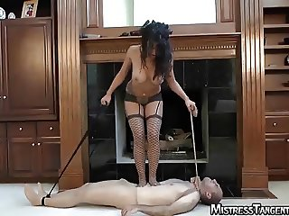Mistress Tangent femdom crush trample on male slave balls