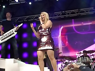 Beatrice Egli Singer Sits On Chair Pussy Upskirt Stage Ups
