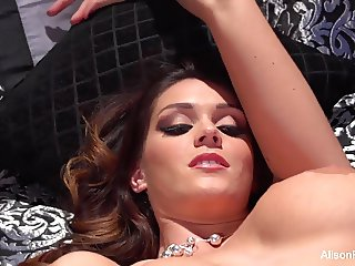 Busty brunette Alison teases the camera and fngers herself