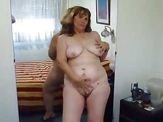 Strip show and teasing from my mature BBW wife