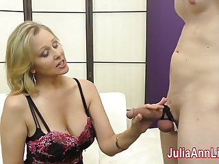 Milf Julia Ann Makes Slave Cum on Her Stockings from FootJob