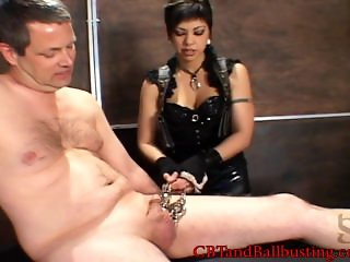 CBT teasing cock and ball torture with clamps