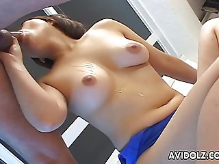 Asian with a blue panty getting fucked interestingly