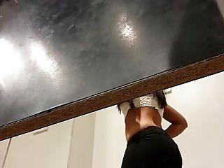 Changing Girl Checks Out Her Ass With No Panties