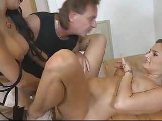 Two girls fucking a big cock