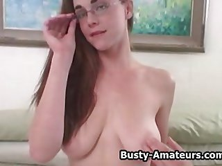 Busty amateurs Holly playing her pussy with dildo