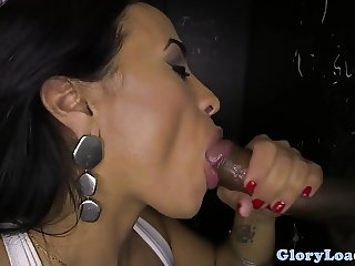 Athletic gloryhole amateur tugs and cocksucks
