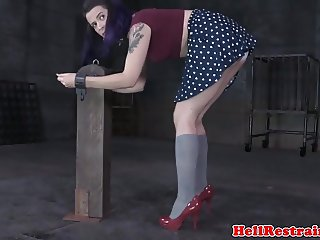 Gagged submissive punished on a sybian