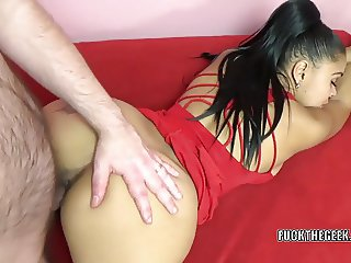 Petite swinger Charli is getting nailed by a lucky geek