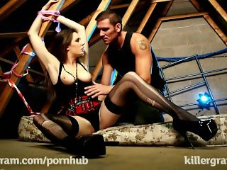 Killergram Samantha Bentley is taped and bound for pleasure
