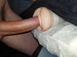 Handsfree fucking a fleshlight while watching porn.