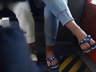 teen feet at the train