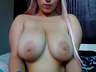 Girl With Fine Tits Plays With Her Pussy Until It Drips