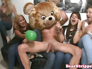 My slutty girlfriend blows strippers at party