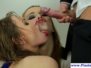 Pee drenched euro babe riding dick in trio