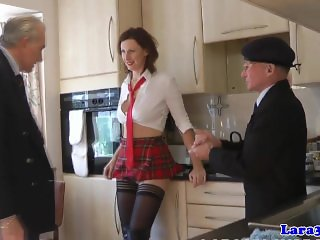 Uniformed milf spitroasted by old guy in trio