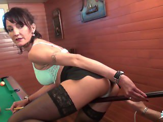 LA COCHONNE - French girl gets her mature asshole fucked by the pool table