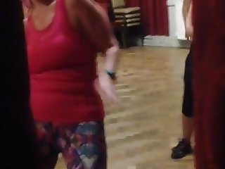 Public wank over dancing yoga milfs