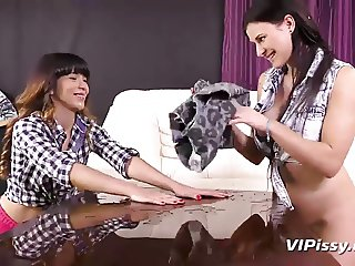 Cute girls turn their pedicure into a piss filled sex toy se