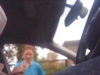 Dickflash redhead teen jogger gives directions