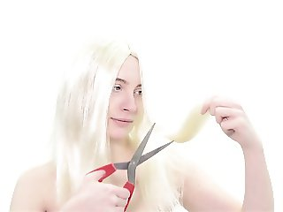Submissive bitch gets her hair chopped off