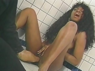Ebony and Blonde Have Threesome In A Bathroom