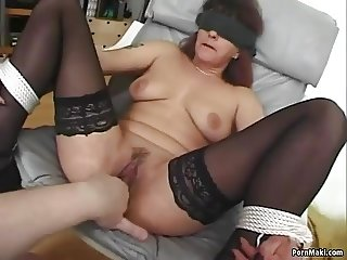 Granny Gets DP'd With Dildos Before Fucking