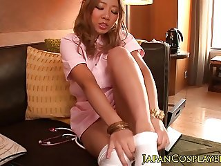 Asian cosplay babe creampied in hairy pussy