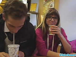 Petite teen babe pounded in sexy glasses