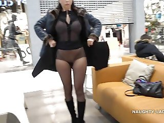 My transparent shirt, pantyhose and upskirt flashing