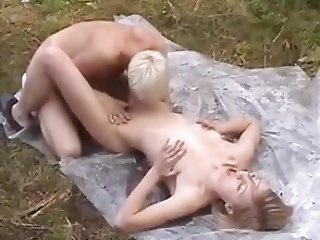 Blonde Prostitute Fucked Outside for Money