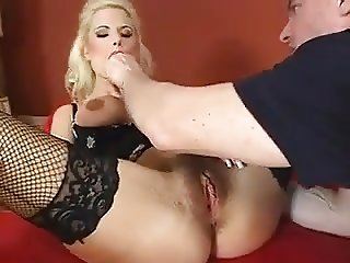 Hairy Busty Blonde is Well Served