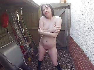Outdoors nude in Boots