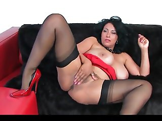 Danica Collins In Red Dress & Heels With Black Stockings