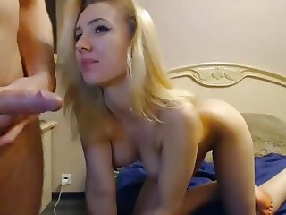 Explosive blonde playing with boyfriend on SexoWebcam.online