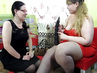 bbw hairy lesbian dildoing and fisting