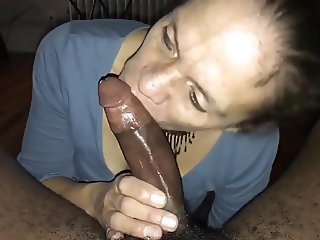 Mature neighbor sucking black dick