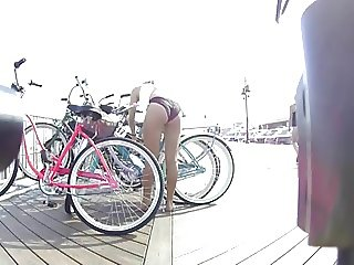 Bikini Teen Nice Ass Unlocking Her Bike
