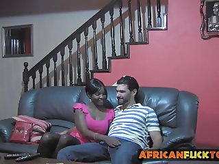 White schlong pounds pussy of ebony babe on couch