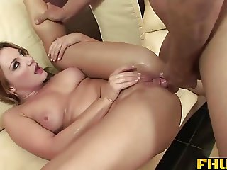 Fhuta - A big toy in her pussy while her ass gets fucked