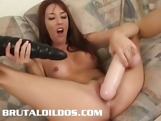 Gorgeous body slut Joselyn Pink fucks big brutal dildos