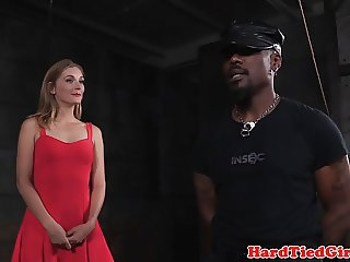 Heeled bdsm sub dominated in interracial duo