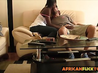 Slutty African whore rides fat white cock like a pro