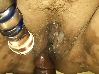 NUT ON HER PUSSY WHILE SHE MASTURBATES