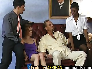 African sluts receive rough banging in foursome